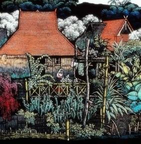 石魯《家家都在花叢中》